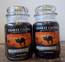 Lot of 2 Yankee Candle  Happy Halloween #2 label  NEW  22 oz Free Ship