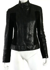 NUDE Black Python Skin & Suede Combo Leather Motorcycle Jacket 42
