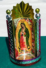 """Mexican Tin Painted Virgen de Guadalupe Chapel Virgin Mary 4"""" x 8"""" of Yellow A"""