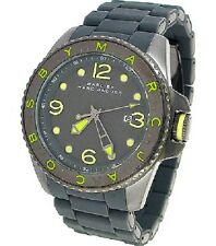 Marc Jacobs Mens Watch DIVER Lime & Grey Silicone Bracelet W/Box MBM2569 NEW