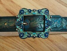 Leatherock Belt brown Buckle Blue Rhinestones swarovski enamel western 3971 32
