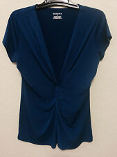 Merona Womens Stretch Top Size XL Turquoise Empire Waist & V-Neck Blouse