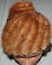 Vintage Real Fur Hat Pillbox Light Brown Mink Womens 40s Russian Style Beanie