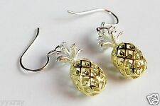 925 Sterling Silver Hawaiian Dangle Pineapple Fruit Earring Earrings Hook YGP