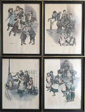 "Set of 4 Vintage 13""x17"" Ronald Embleton Prints In Black & Gold Glass Frames"