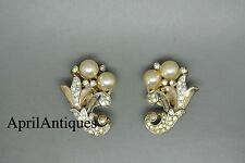 Vintage Crown Trifari Alfred Philippe Empress Eugenie faux pearl earrings