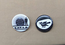 "Man From U.N.C.L.E. 2 Button Set Classic Logo & THRUSH Logo 1.25"" UNCLE TV 70's"
