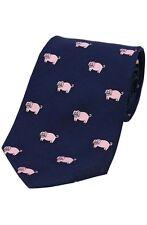 Bleu Pour Hommes 100% Cravate En Soie Cochon Rose Fermier Chauvine Soprano