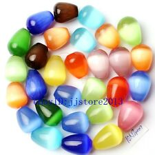 """10x12mm Smooth Mixed Cat Eye Stone Drop DAY Gemstone Loose Beads Strand 15"""""""