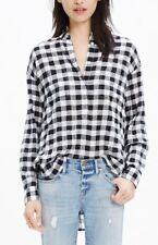 Madewell sz M Collarless Popover Shirt in Buffalo Check Black & White Cotton