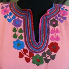 Pink & Multi Color, Hand Embroidered Mayan Huipil, Chiapas Mexico, Hippie, Boho
