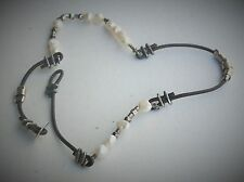 """Silpada 16"""" Oxidized Sterling Silver Brown Leather Pearl Toggle Necklace N1063"""