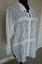 NEW Johnny Was Rayon Embroidered Hooper Button Down Blouse Tunic Top Shirt S