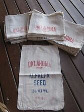 Vintage Oklahoma Origin Alfalfa Seed Striped Cloth Sack $35.00 each sack