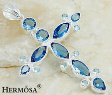 GIFT HUGE GOD BLESS CROSS BLUE TOPAZ 925 STERLING SILVER NECKLACE PENDANT 3 1/4""