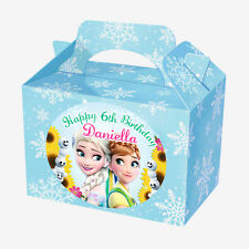 24 X LARGE PERSONALISED FROZEN FEVER BLUE INSPIRED STICKERS, (NOT PARTY BOXES
