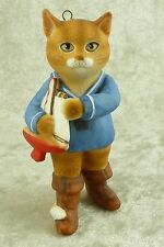 Vintage 1985 Gordon Fraser Cat Puss in Boots w/ Boat Christmas Ornament Schmid
