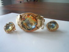 Vintage Sarah Coventry  Versailles cuff Bracelet and earring set, Excellent cond