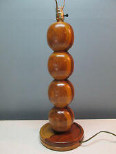 Vintage Mid Century Stacked Ball Wood Danish Modern Table Lamp