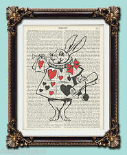 Alice In Wonderland Rabbit Antique vintage encyclopaedia dictionary art 10 x 8""