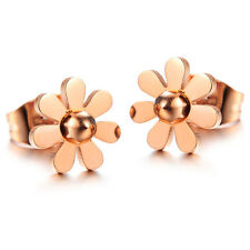 SIMPLE CUTE DAISY ROSE GOLD GP JEWELRY SURGICAL STAINLESS STEEL STUD EARRINGS