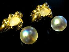 VINTAGE Gold French Designer (Deve?) Transluscent Bauble Clip Earrings