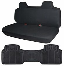 Bench Car Seat Cover Protector Builtin Headrests Black w/ Rubber Floor Liner