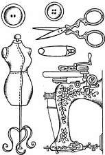 Vintage Sewing 6 clear craft stamp set A6 machine dummy scissors buttons pin