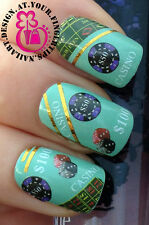 NAIL ART Avvolgere ACQUA trasferimento Decalcomanie Casinò Chip / DADI / TABLE TOP GAME / $100 # 158