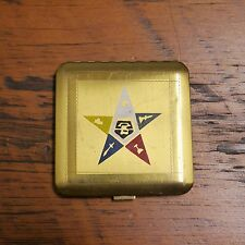 Vintage Dorset REX Order of the Eastern Star Freemason Brass Make Up Compact