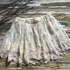 Womens Skirt Lace Romantic Tulle Embroidered Victorian White Cream Forever 21 M