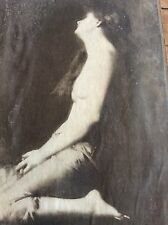 ANTIQUE ORIG EARLY NUDE EROTIC PRINT SULTRY WOMAN