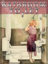Bathroom To Let, 102 Toilet Showeroom Old Vintage 30s 40s, Small Metal/Tin Sign