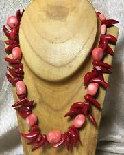 "Red Sponge Coral Bib Necklace -Natural Shaped Beads -18"" -Sea-Nature-Tribal"