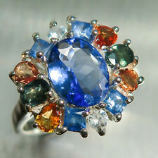 1.30ct Natural Purple blue Tanzanite & sapphires 925 sterling silver ring
