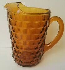Colony Indiana Glass Whitehall Cube Amber Pitcher with Ice Lip 50 oz Heavy
