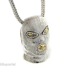 """Goon Masked Man Iced-Out  Pendant Silver Tone Hip Hop Necklace 36"""" Franco Chain"""