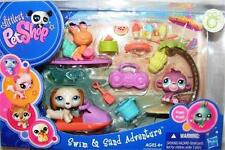 Littlest Pet Shop Swim & Sand Adventure DACHSHUND lot #1491 1492 1493 Rare NIB!
