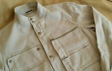 Louis Vuitton Men's Off White Pale  Linen Moto Jacket EUR 50 Fitted M Silver LV