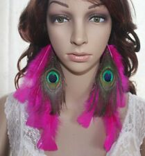 54A2-12 Natural Peacock Feather Earrings Jewelry 1 Pair Lhf140528