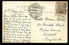 Portugal Lourenco Marques 1908 Cape Town PPC CAES GARJAO to England 20c frank