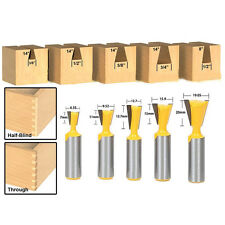 "5Pc 8°and14° Dovetail Joint Router Bit Set 1/4"" 1/2"" 3/8"" 5/8"" 3/4"" - 1/2"" Shank"