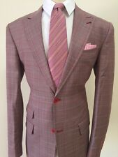 Pink super 150 Drapperie plaid wool suit peak lapel/ticket pocket made in Italy