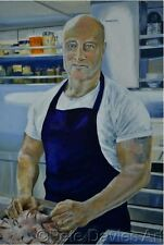 """PETE DAVIES ORIGINAL """"John the Cook"""" Offshore North Sea Norway Oil Rig PAINTING"""