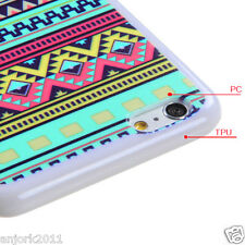 iPhone 6 Plus Hybrid Snap Fit Gummy Case Cover Tribal Sun White