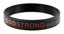 8030004 Adult Black Band With Red Print Godstrong Silicone Band Eph. Ephesians 6