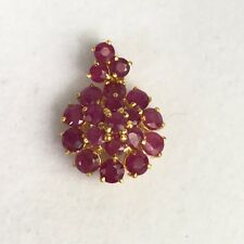 14k Solid Yellow Gold Small Round Cluster Pendant, Natural Ruby 2TCW