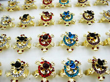 Wholesale Lot 5pcs Gold Plated Mixed Color Cute Crystal Turtle Rings J89