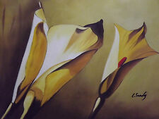 abstract yellow lilies flowers large oil painting canvas tulips tulip art modern