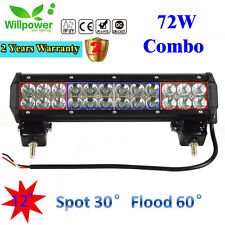 12inch 72W Led Work Light Bar Flood Spot Suv Boat Driving Lamp Offroad 4WD UTE